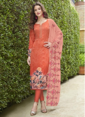 Digital Print Work Crepe Silk Pakistani Straight Salwar Suit