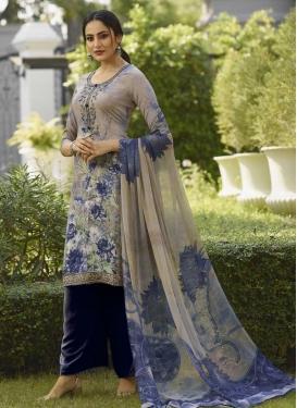 Digital Print Work Crepe Silk Palazzo Straight Salwar Kameez