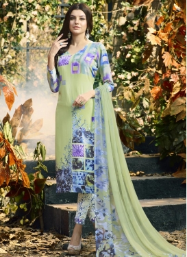 Digital Print Work Crepe Silk Pant Style Straight Salwar Suit