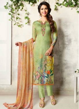 Digital Print Work Crepe Silk Pant Style Straight Suit