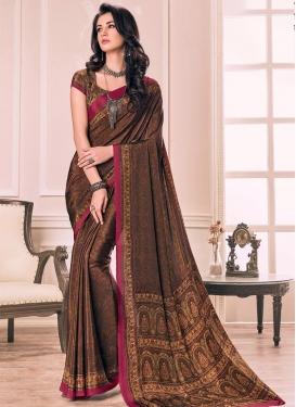 Digital Print Work Crepe Silk Traditional Saree