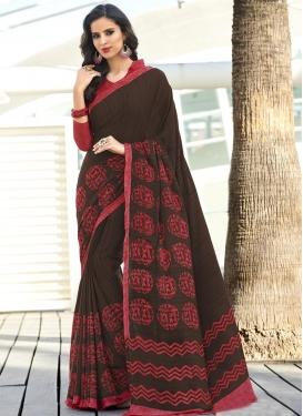 Digital Print Work Crepe Silk Trendy Saree