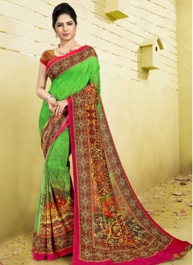Digital Print Work Designer Contemporary Saree