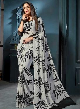 Digital Print Work Designer Contemporary Saree For Casual