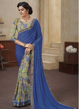 Digital Print Work Designer Half N Half Saree