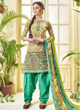 Digital Print Work  Designer Patiala Salwar Suit