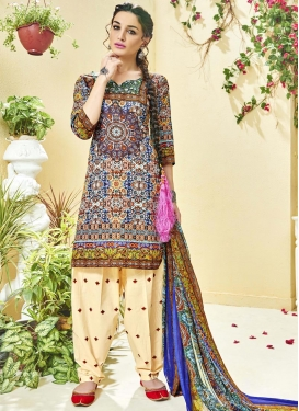 Digital Print Work  Designer Semi Patiala Salwar Suit