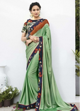 Digital Print Work Faux Chiffon Contemporary Saree For Festival