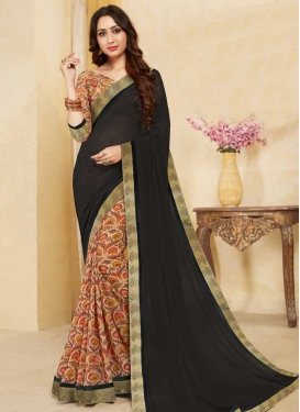Digital Print Work Faux Georgette Black and Peach Half N Half Designer Saree
