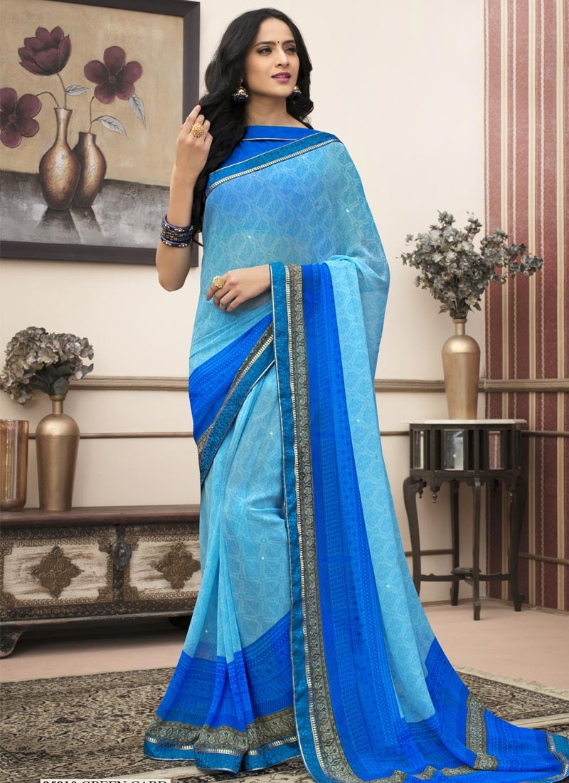 85f04efa7d9 Digital Print Work Faux Georgette Blue and Light Blue Contemporary Style  Saree