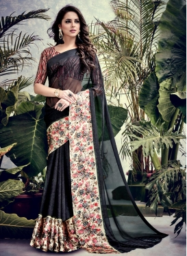 Digital Print Work Faux Georgette Classic Saree For Casual