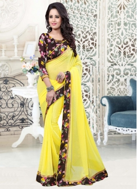 Digital Print Work  Faux Georgette Contemporary Saree