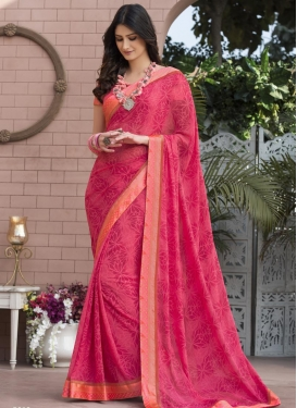 Digital Print Work Faux Georgette Contemporary Saree For Ceremonial