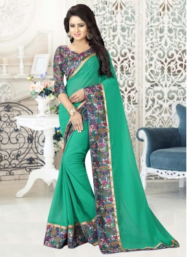 Digital Print Work  Faux Georgette Contemporary Style Saree