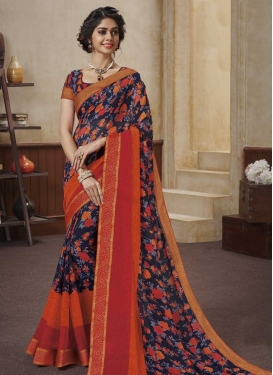 Digital Print Work Faux Georgette Designer Contemporary Saree