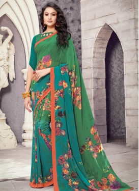 Digital Print Work Faux Georgette Green and Teal Designer Contemporary Saree