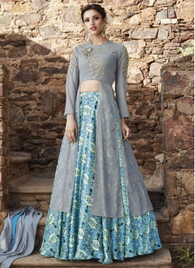 Digital Print Work Faux Georgette Long Choli Lehenga