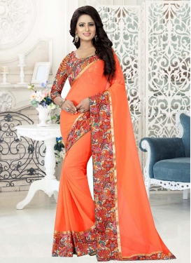 Digital Print Work Faux Georgette Traditional Saree