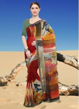 Digital Print Work Faux Georgette Trendy Classic Saree