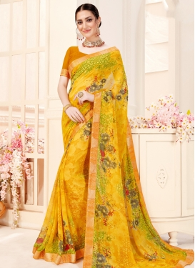 Digital Print Work Faux Georgette Trendy Classic Saree