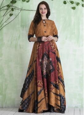 Digital Print Work Floor Length Trendy Gown