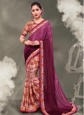 Digital Print Work Fuchsia and Pink Half N Half Trendy Saree