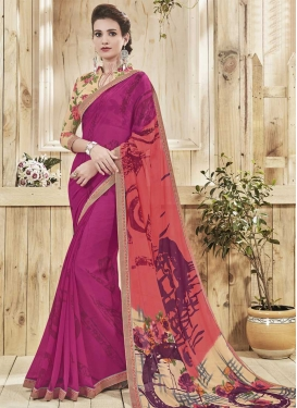 Digital Print Work Fuchsia and Salmon Trendy Saree