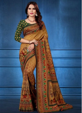 Digital Print Work Gold and Green Designer Traditional Saree