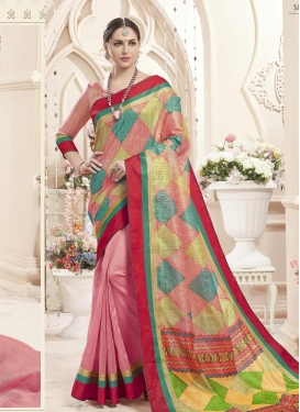 Digital Print Work Gold and Pink Half N Half Designer Saree