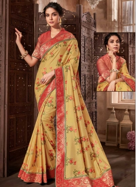 Digital Print Work Gold and Red Designer Contemporary Style Saree