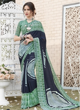 Digital Print Work Green and Navy Blue  Trendy Saree
