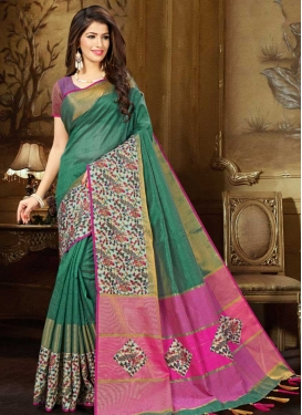 Digital Print Work Green and Rose Pink Trendy Classic Saree