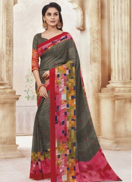 Digital Print Work Grey and Hot Pink Designer Contemporary Style Saree