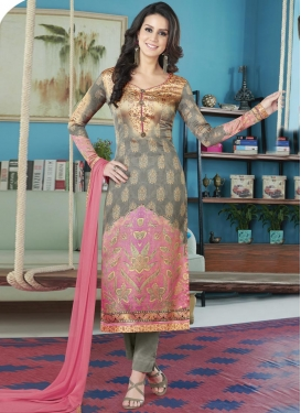 Digital Print Work Grey and Pink Satin Silk Pant Style Straight Salwar Suit
