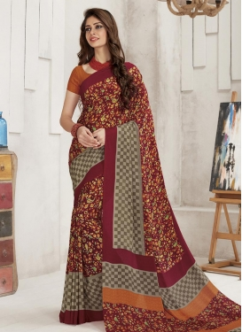 Digital Print Work Grey and Red Classic Saree