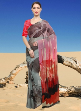 Digital Print Work Grey and Red  Contemporary Style Saree