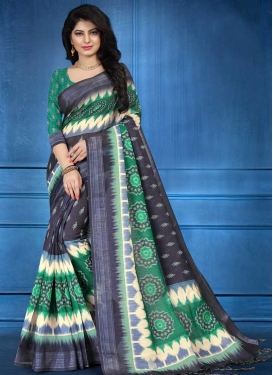 Digital Print Work Grey and Sea Green Classic Saree