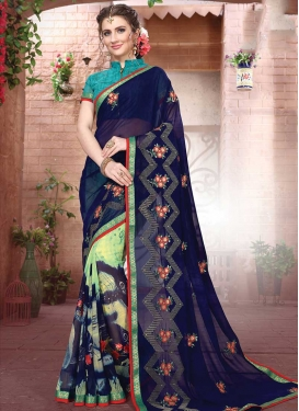 Digital Print Work Half N Half Designer Saree