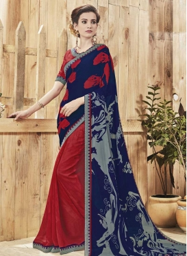 Digital Print Work Half N Half Trendy Saree For Casual
