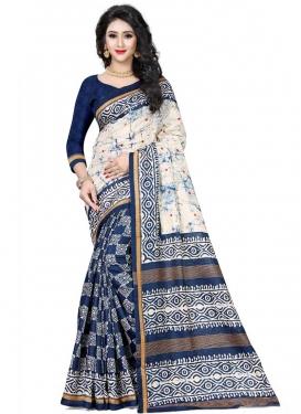 Digital Print Work Handloom Silk Navy Blue and Off White Half N Half Trendy Saree