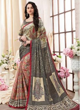 Digital Print Work Kanjivaram Silk Half N Half Trendy Saree