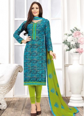 Digital Print Work Light Blue and Olive Trendy Churidar Salwar Kameez