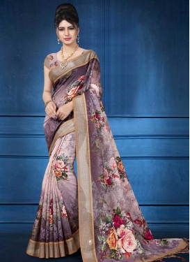 Digital Print Work Linen Traditional Designer Saree For Festival
