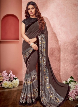 Digital Print Work Lycra Coffee Brown and Grey Contemporary Saree
