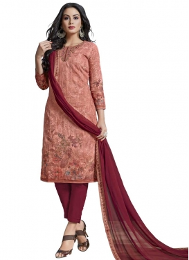 Digital Print Work Maroon and Salmon Pant Style Straight Suit
