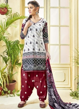 Digital Print Work Maroon and White Trendy Patiala Salwar Kameez