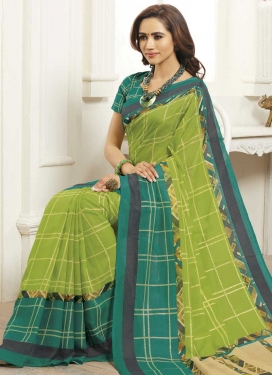 Digital Print Work Mint Green and Sea Green Traditional Saree
