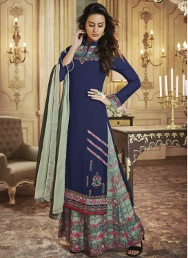 Digital Print Work Navy Blue and Sea Green Palazzo Straight Salwar Kameez