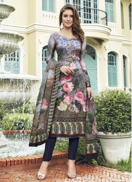 Digital Print Work Navy Blue and Silver Color Pant Style Straight Salwar Kameez