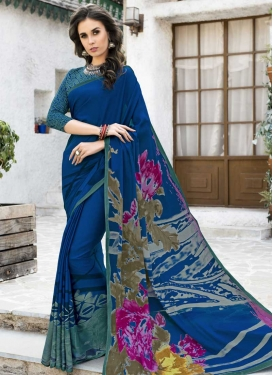Digital Print Work Navy Blue and Teal Contemporary Saree